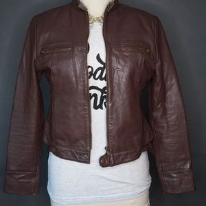 Soft Grey Jackets & Coats - Brown Leather Women's Jacket